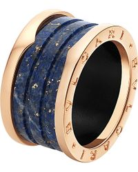 BVLGARI | B.zero1 Four-band 18ct Pink-gold And Blue Marble Ring | Lyst