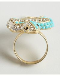 Kenneth Jay Lane - Metallic Turquoise And Crystal Snake Ring - Lyst