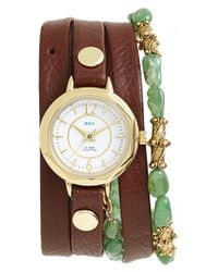 La Mer Collections - Brown 'martine Ilana Jaipur' Leather & Stone Wrap Watch - Lyst