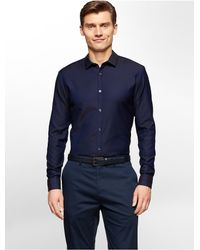 Calvin Klein | Blue White Label Premium Slim Fit Two-tone Dobby Shirt for Men | Lyst