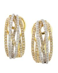 Effy | Metallic Diamond And 14K Yellow Gold Hoop Earrings, 0.78 Tcw | Lyst