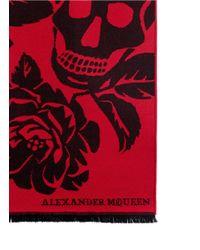 Alexander McQueen - Black 'oversize Bloom Skull' Wool Scarf - Lyst