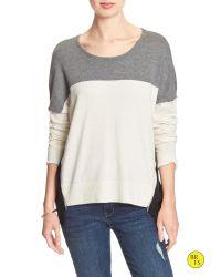 Banana Republic | Gray Factory Hi-lo Colorblock Zipper Sweater | Lyst