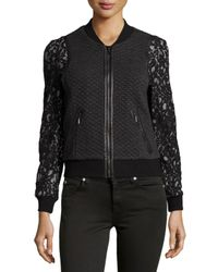 Rebecca Taylor - Black Textured Bomber Jacket W/lace And Faux-fur Trim - Lyst