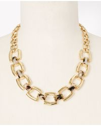 Ann Taylor | Metallic Modern Classic Square Necklace | Lyst