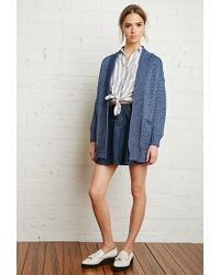Forever 21 - Blue Textured Open-front Cardigan - Lyst