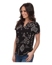Lucky Brand | Black Gia Patchwork Top | Lyst