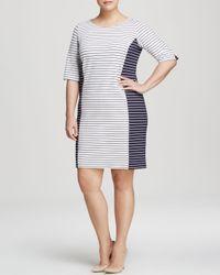 Marina Rinaldi - White Plus Oblo Stripe Dress - Lyst