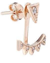 Kismet by Milka | Metallic Rose Gold Diamond Crown Earring | Lyst