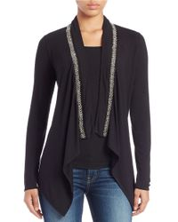 Guess - Black Embellished Drape-front Cardigan - Lyst
