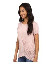 Bobeau | Pink Short Sleeve Knot T-shirt | Lyst