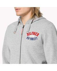 Tommy Hilfiger | Gray Cotton Blend Zip Through Sweater for Men | Lyst