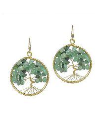 Aeravida | Green Eternal Tree Of Life Stone Branch Brass Dangle Earrings | Lyst