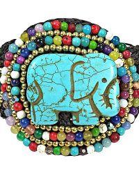 Aeravida | Blue Regal Elephant Turquoise And Mix Stone Handmade Bracelet | Lyst