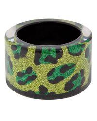 Nicholas King - Green Glitter Leopard Print Cuff - Lyst