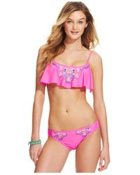 Hobie | Pink Embroidered Flounce Bikini Top | Lyst