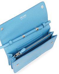 Prada - Blue Saffiano Small Wallet-on-a-strap - Lyst