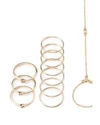Forever 21 - Metallic Hand Chain Ring Set - Lyst