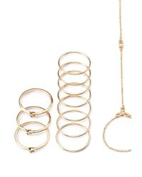 Forever 21 | Metallic Hand Chain Ring Set | Lyst