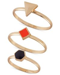 French Connection - Metallic Gold-Tone Modern Signet Ring Trio - Lyst
