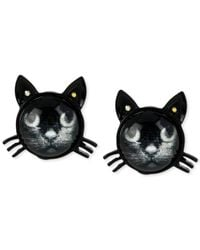 Betsey Johnson | Black Cat Stud Earrings | Lyst
