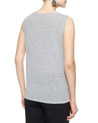Eileen Fisher - White Sleeveless Striped Jersey Shell - Lyst