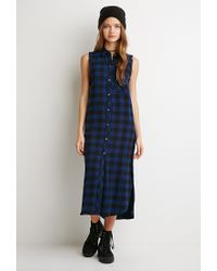 Forever 21 | Blue Raw-cut Flannel Shirt Dress | Lyst