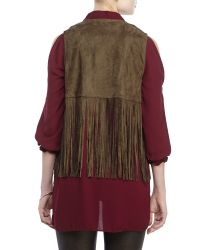 Re:named - Green Faux Suede Fringe Vest - Lyst