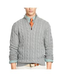 Polo Ralph Lauren - Gray Tussah Silk Half-zip Sweater for Men - Lyst