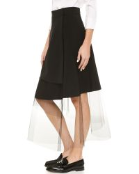 DKNY - Black Asymmetrical Midi Skirt - Lyst