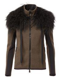 Moncler Grenoble - Brown Fur Collar Cardigan - Lyst