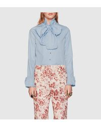 Gucci | Blue Washed Oxford Shirt | Lyst