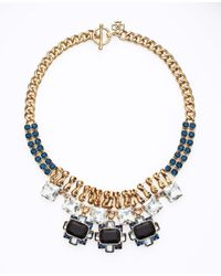 Ann Taylor - Black Crystal Brooch Statement Necklace - Lyst