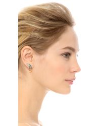 Jenny Packham - Pink Fountain I Earrings - Silver Pearl - Lyst