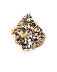 Gucci - Green Crystal And Pearl-Embellished Lion Ring - Lyst