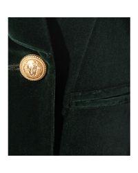 Balmain - Green Double-breasted Velvet Blazer - Lyst