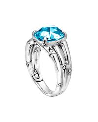 John Hardy - Small Bamboo Silver Ring with Octagon Sky Blue Topaz - Lyst