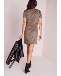Missguided - Gray Tie Waist Faux Suede Dress Stone - Lyst