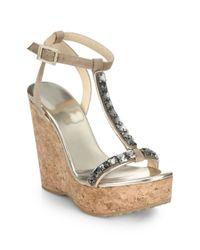 Jimmy Choo - Natural Naima Jeweled Cork Platform Wedge Sandals - Lyst