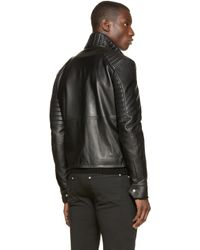 Versus | Black Leather Biker Jacket for Men | Lyst