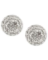 Anne Klein | Metallic Silver-tone Glass Fireball Stud Earrings | Lyst