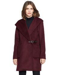 Lauren by Ralph Lauren Purple 'Gwen' Hooded Wool Blend Coat