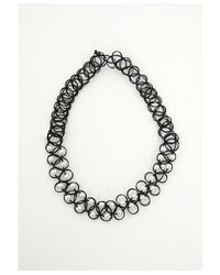 Missguided - Pearl Tattoo Choker Necklace Black - Lyst