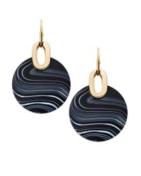 Michael Kors | Goldtone Black Agate Disc Drop Earrings | Lyst