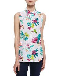 Equipment - Multicolor Paradise-Print Sleeveless Silk Top - Lyst