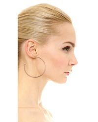 Vita Fede - Pink Large Hoop Earrings With Crystal Cones - Rose Gold/clear - Lyst