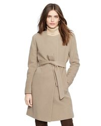 Lauren by Ralph Lauren | Brown Belted Wool Blend Collarless Coat | Lyst