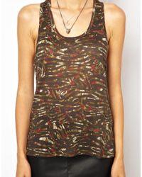 IRO | Green Fine Knit Linen Tank Top in Camo Print | Lyst