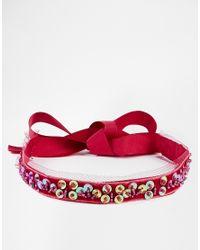 ASOS | Purple Sequin Choker Necklace | Lyst