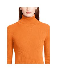 Ralph Lauren - Orange Ribbed Turtleneck Sweater - Lyst